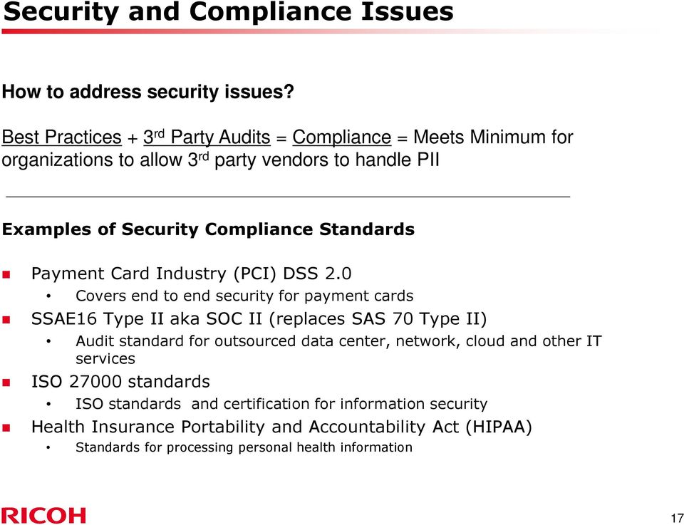 Standards Payment Card Industry (PCI) DSS 2.