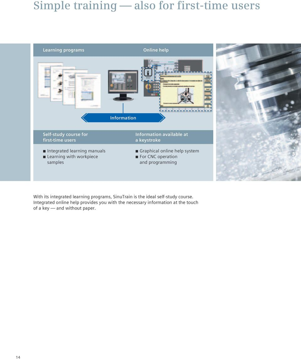 online help system For CNC operation and programming With its integrated learning programs, SinuTrain is the ideal