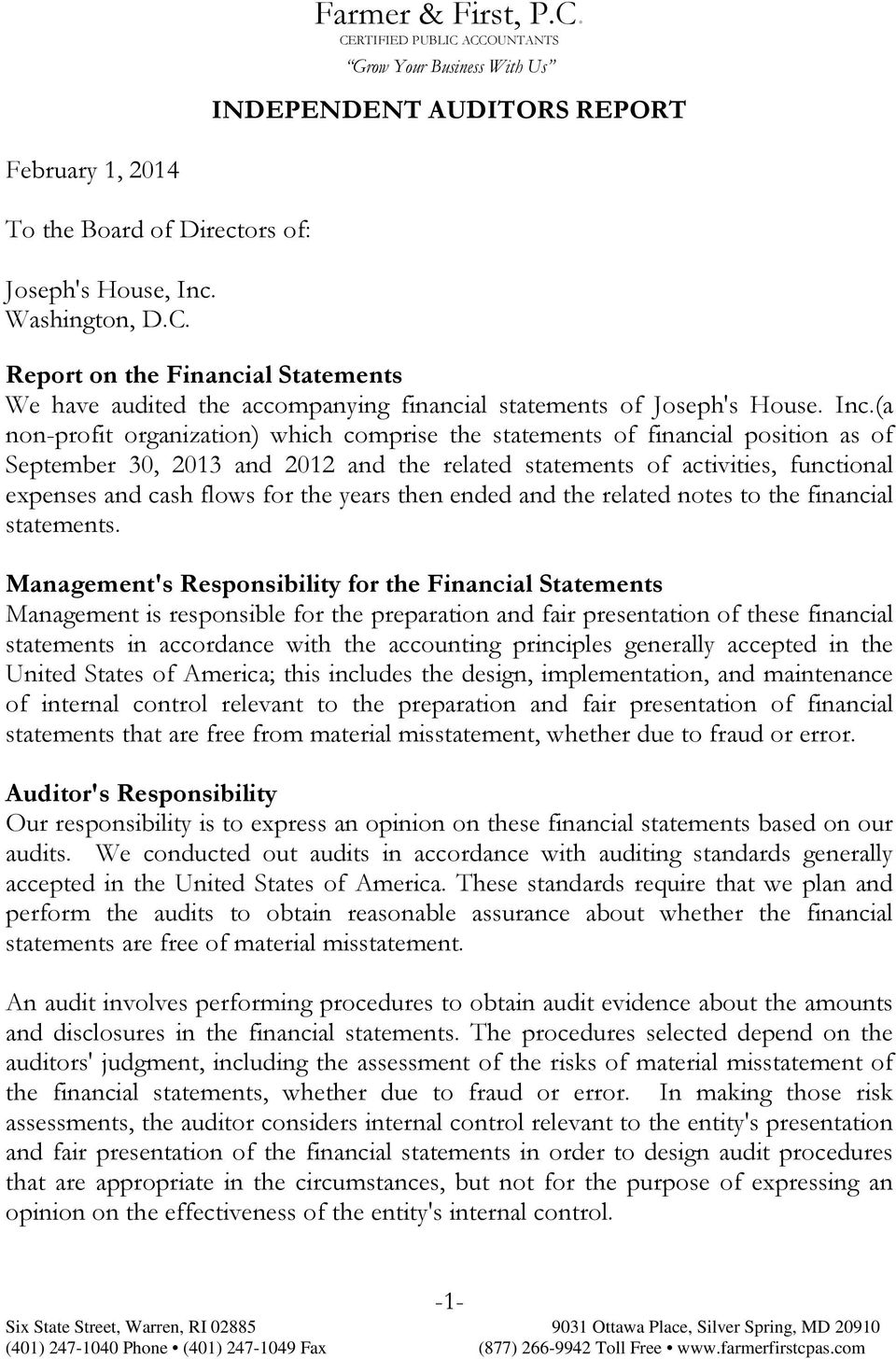 the years then ended and the related notes to the financial statements.