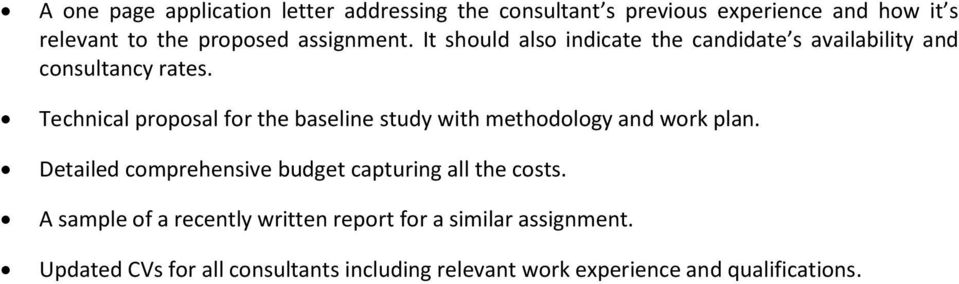 Technical proposal for the baseline study with methodology and work plan.