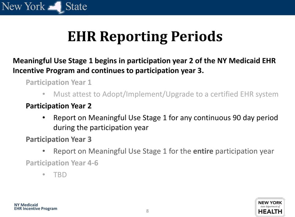 Participation Year 1 Must attest to Adopt/Implement/Upgrade to a certified EHR system Participation Year 2 Report