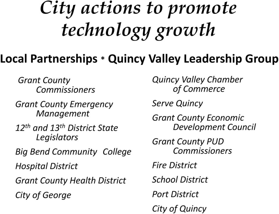 College Hospital District Grant County Health District City of George Quincy Valley Chamber of Commerce Serve Quincy