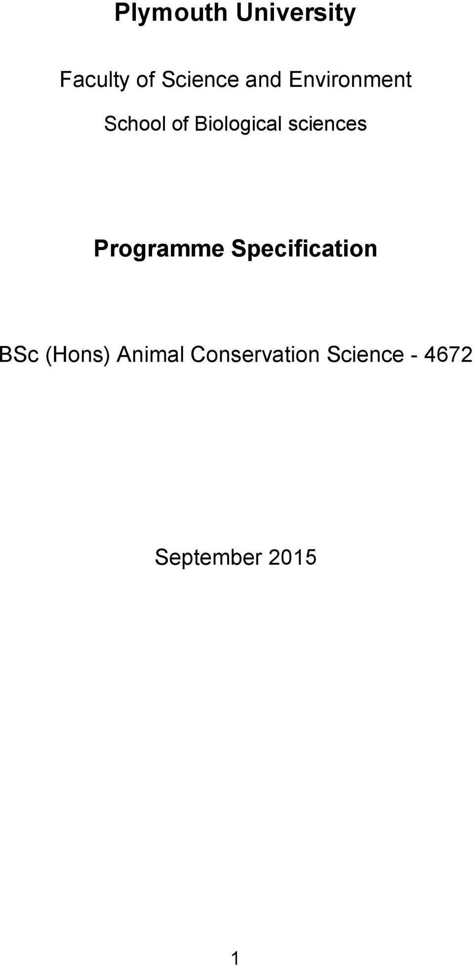 Programme Specification BSc (Hons) Animal