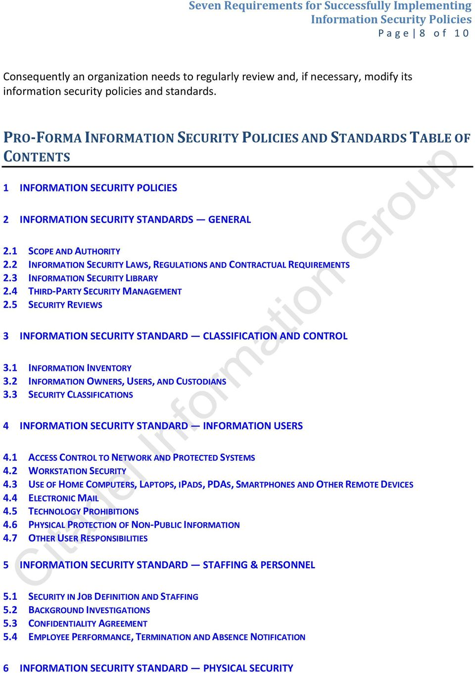 2 INFORMATION SECURITY LAWS, REGULATIONS AND CONTRACTUAL REQUIREMENTS 2.3 INFORMATION SECURITY LIBRARY 2.4 THIRD-PARTY SECURITY MANAGEMENT 2.