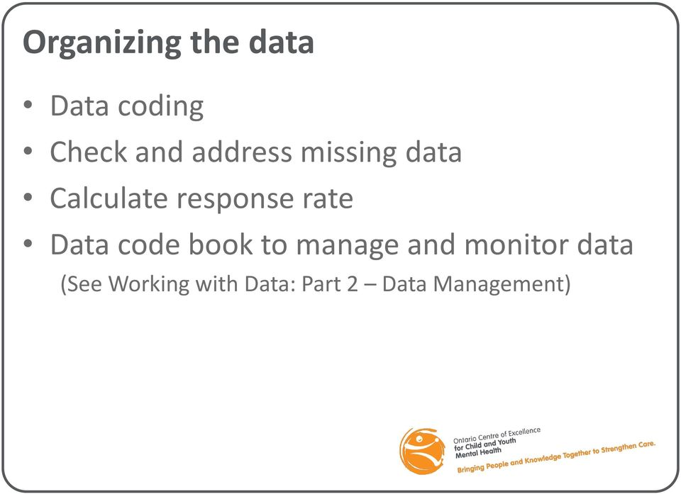 rate Data code book to manage and monitor