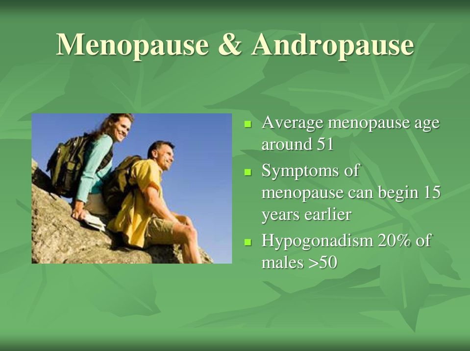 of menopause can begin 15 years