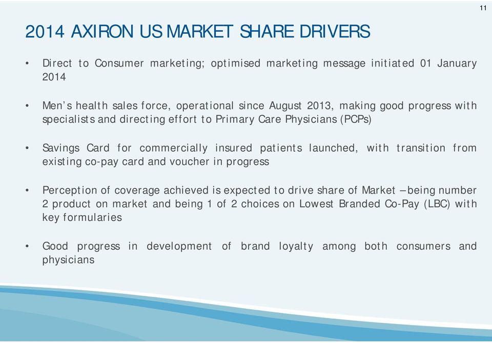 launched, with transition from existing co-pay card and voucher in progress Perception of coverage achieved is expected to drive share of Market being number 2
