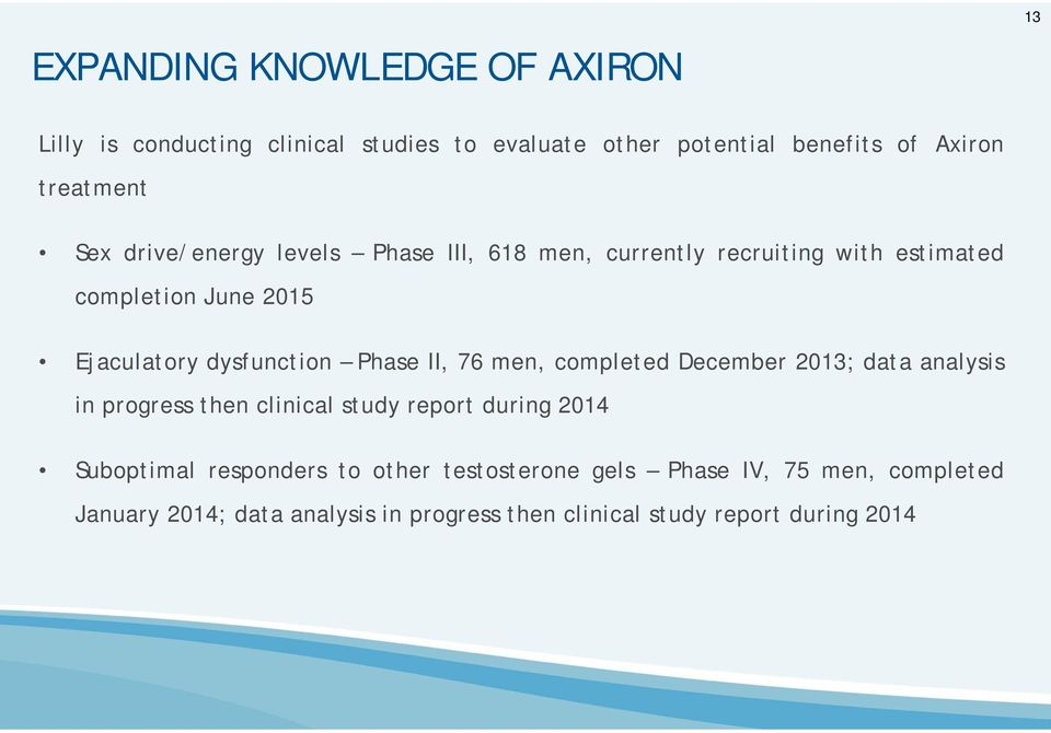 Phase II, 76 men, completed December 2013; data analysis in progress then clinical study report during 2014 Suboptimal