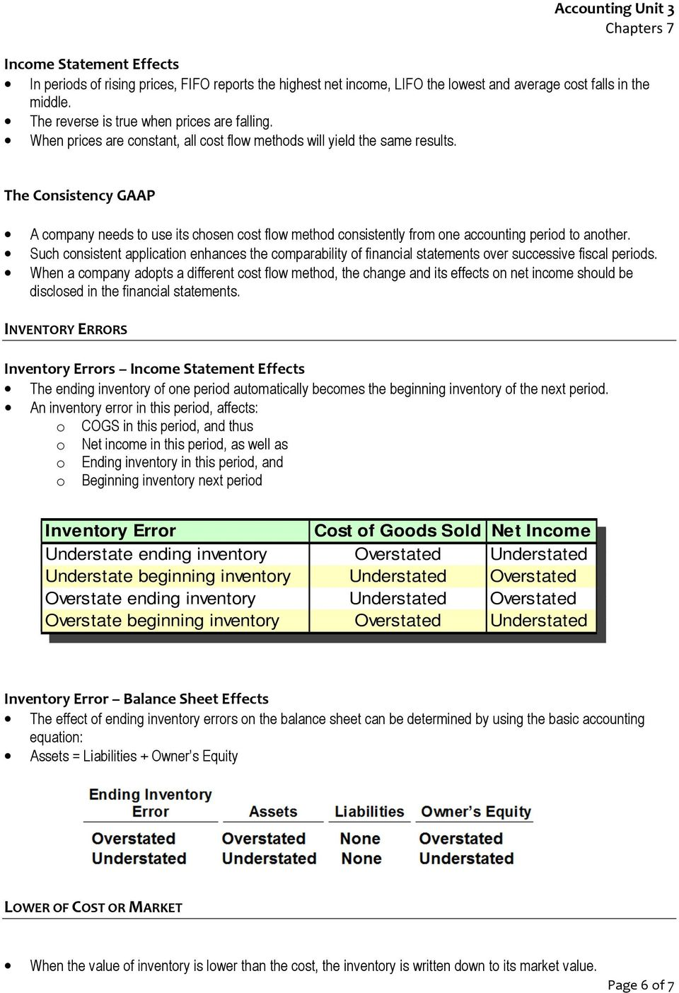 how to fix income statement if inventory was overstated