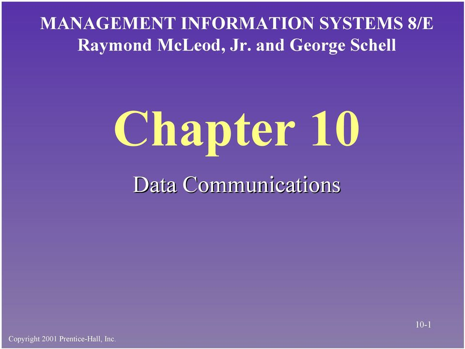 and George Schell Chapter 10 Data