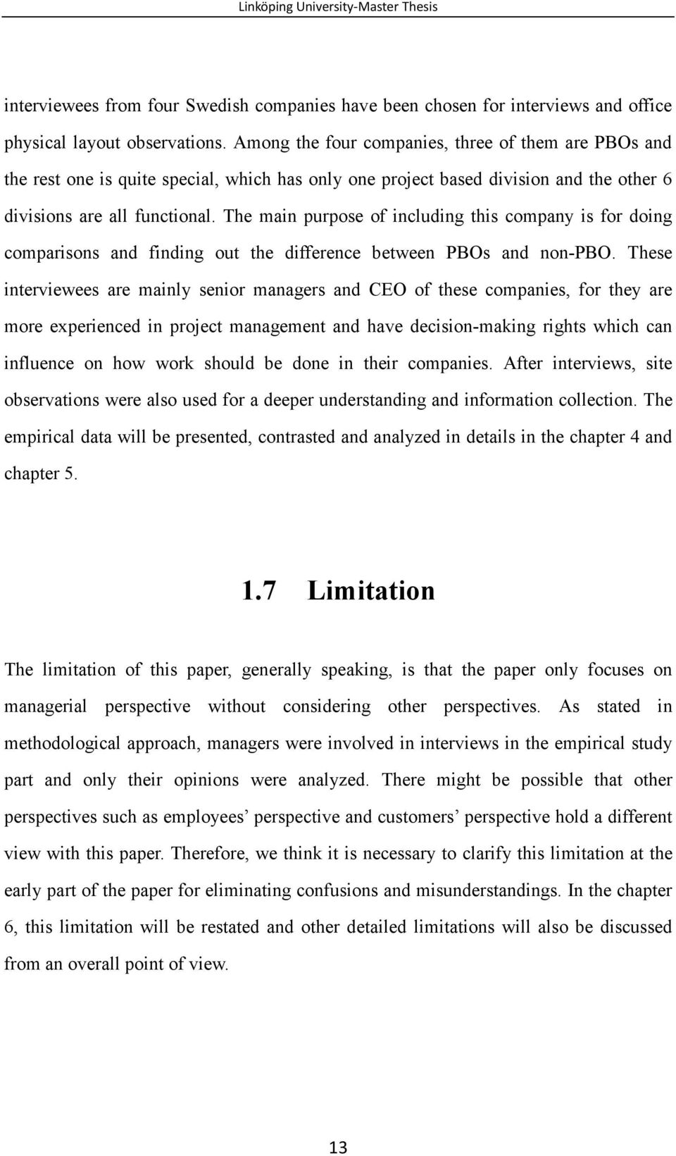 master thesis empirical part