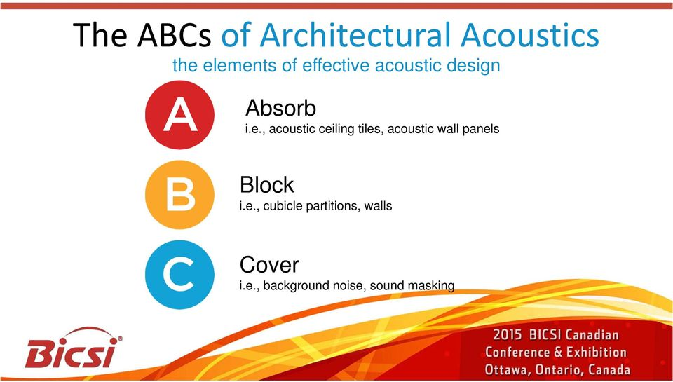 ceiling tiles, acoustic wall panels Block i.e., cubicle partitions, walls Cover i.