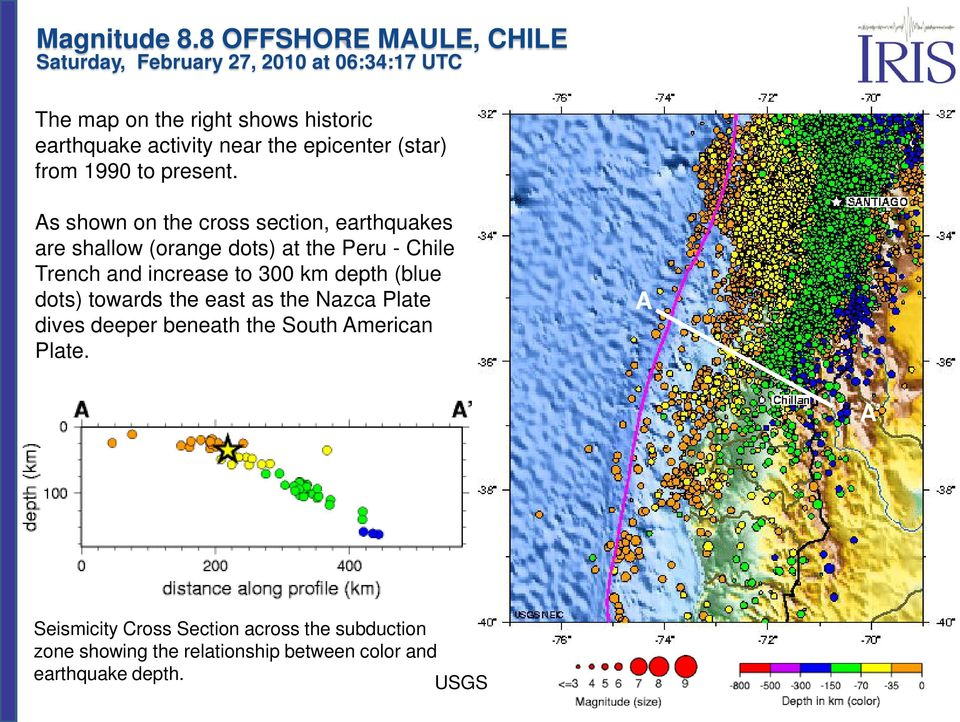 300 km depth (blue dots) towards the east as the Nazca Plate dives deeper beneath the South American Plate.