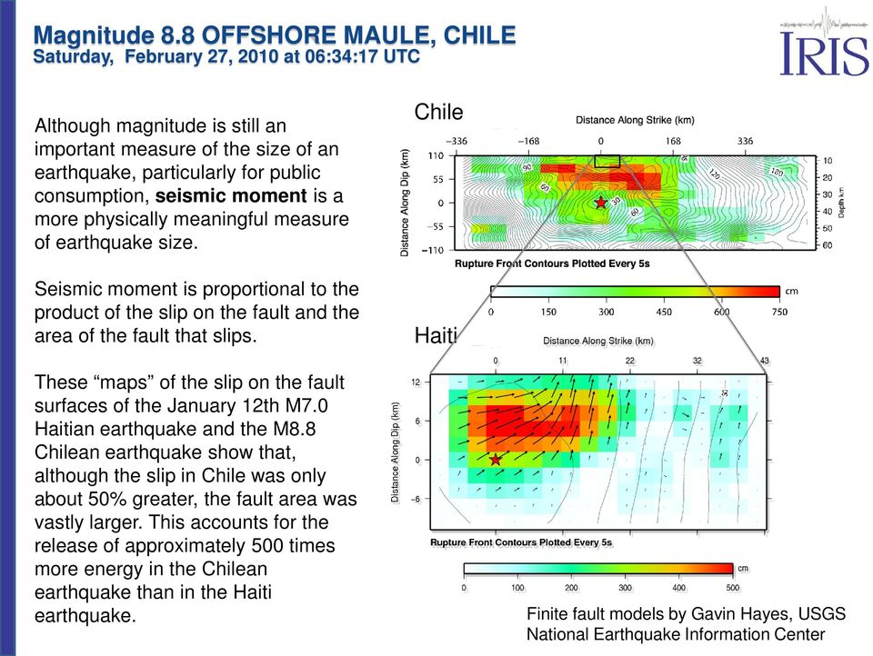 Chile Haiti These maps of the slip on the fault surfaces of the January 12th M7.0 Haitian earthquake and the M8.