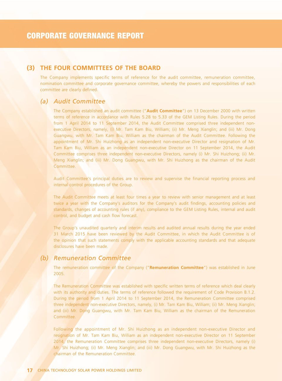 (a) Audit Committee The Company established an audit committee ( Audit Committee ) on 13 December 2000 with written terms of reference in accordance with Rules 5.28 to 5.33 of the GEM Listing Rules.