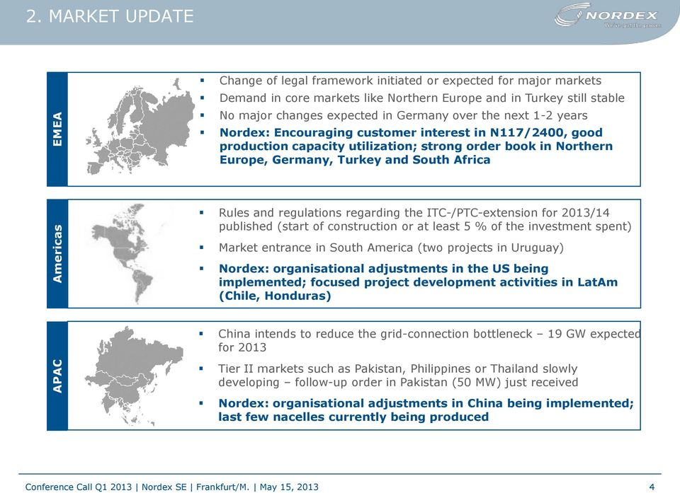 next 1-2 years Nordex: Encouraging customer interest in N117/2400, good production capacity utilization; strong order book in Northern Europe, Germany, Turkey and South Africa Rules and regulations