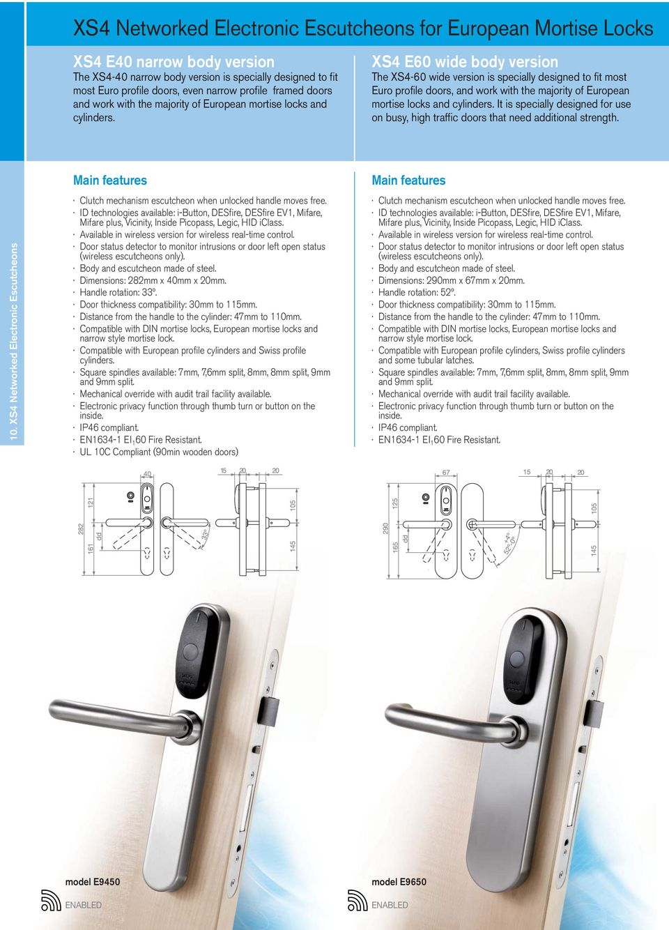 XS4 E60 wide body version The XS4-60 wide version is specially designed to fit most Euro profile doors, and work with the majority of European mortise locks and cylinders.