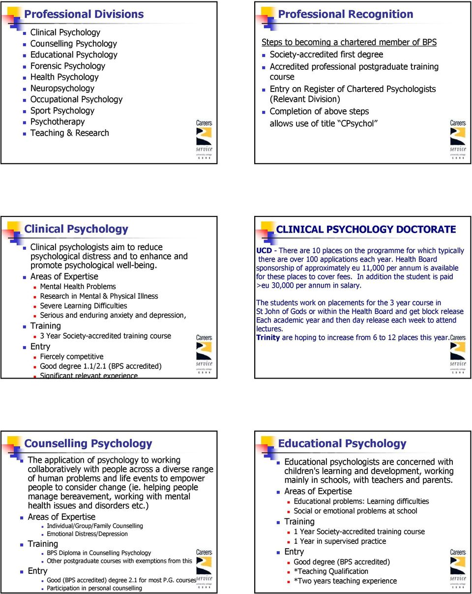 Psychologists (Relevant Division) Completion of above steps allows use of title CPsychol Clinical Psychology Clinical psychologists aim to reduce psychological distress and to enhance and promote