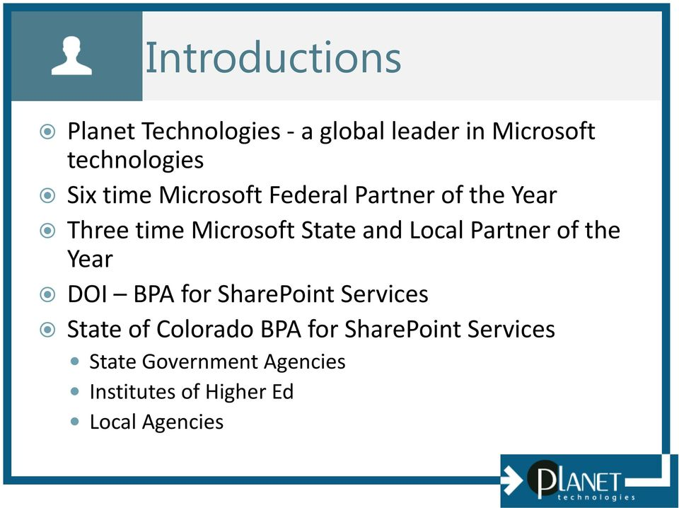 Local Partner of the Year DOI BPA for SharePoint Services State of Colorado BPA