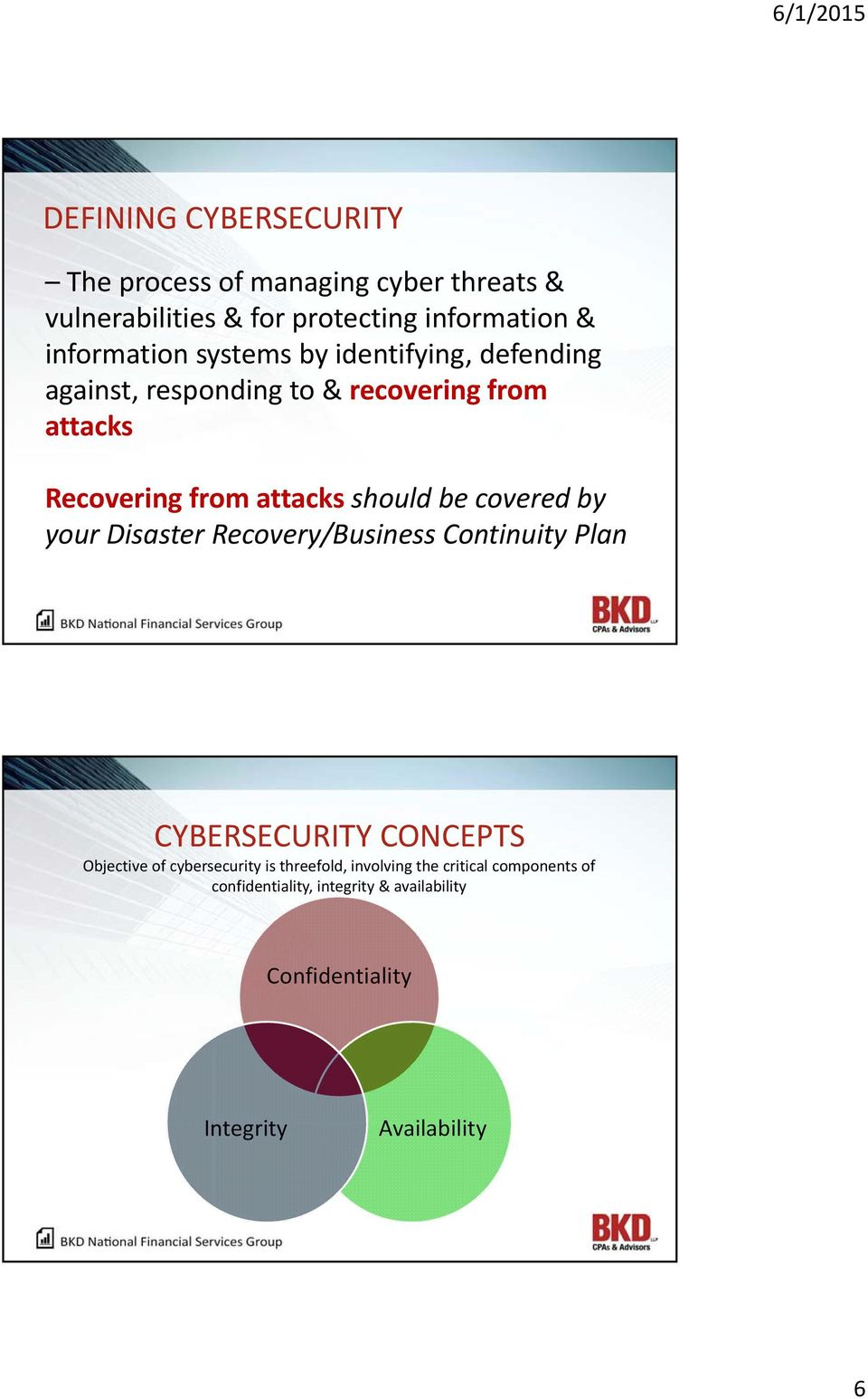 should be covered by your Disaster Recovery/Business Continuity Plan CYBERSECURITY CONCEPTS Objective of cybersecurity