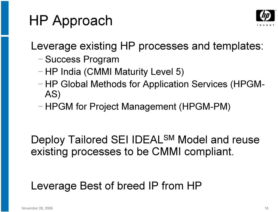for Project Management (HPGM-PM) Deploy Tailored SEI IDEAL SM Model and reuse