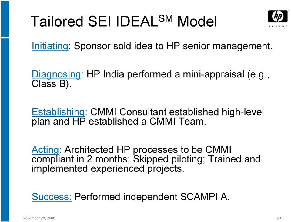 Establishing: CMMI Consultant established high-level plan and HP established a CMMI Team.