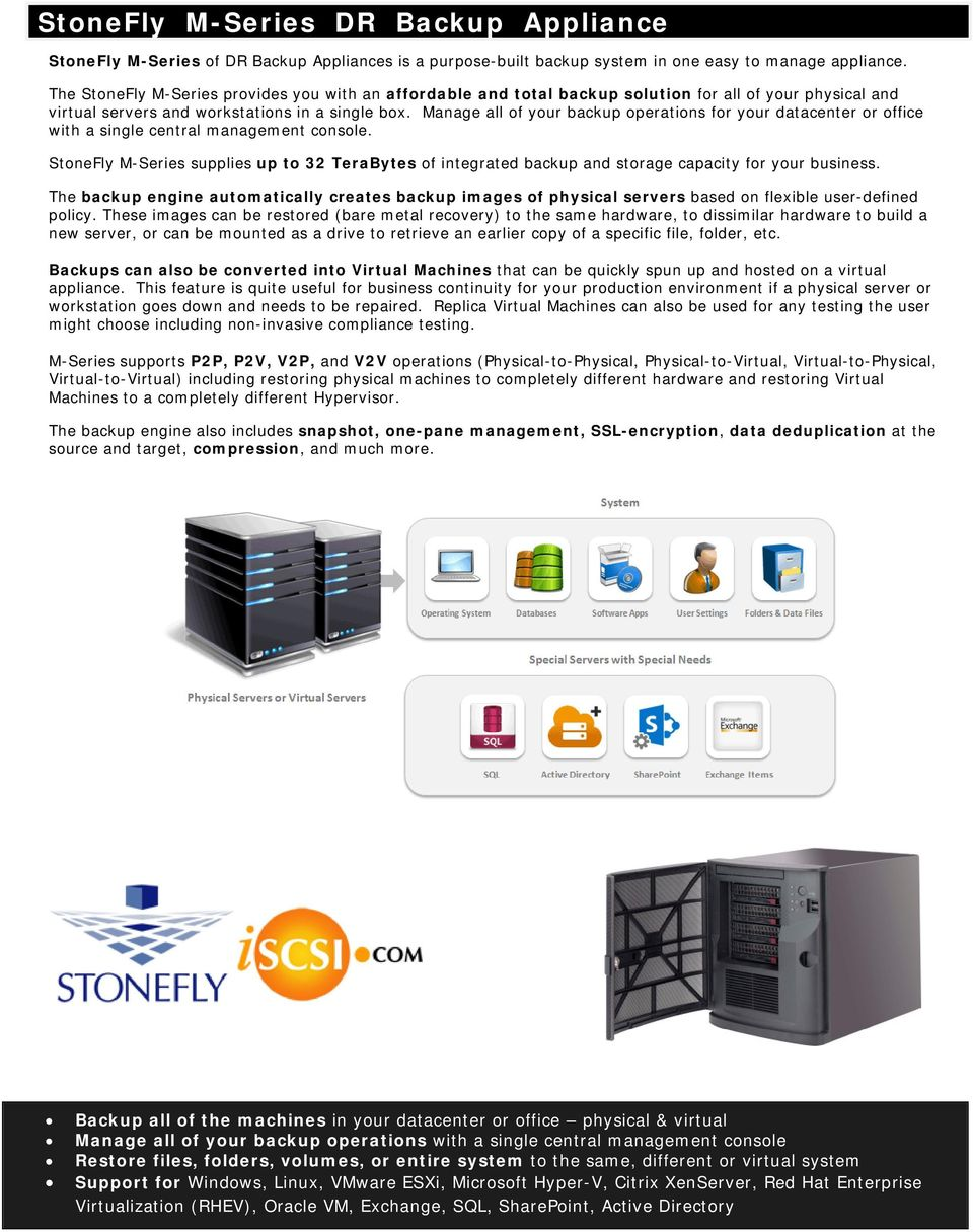 Manage all f yur backup peratins fr yur datacenter r ffice with a single central management cnsle. StneFly M-Series supplies up t 32 TeraBytes f integrated backup and strage capacity fr yur business.