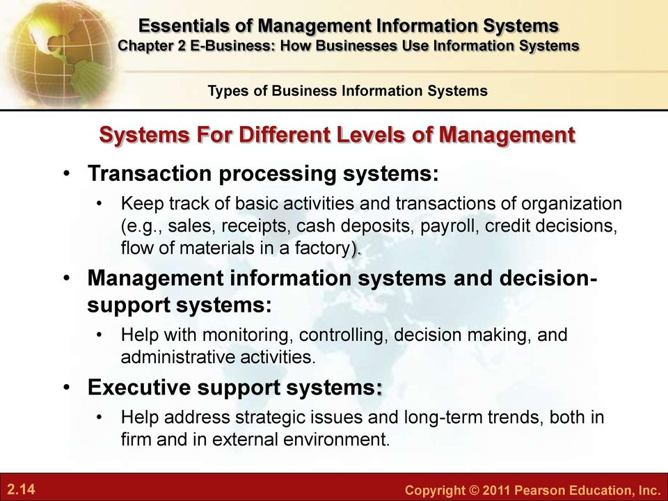 Management information systems and decisionsupport systems: Help with monitoring, controlling, decision making, and administrative activities.