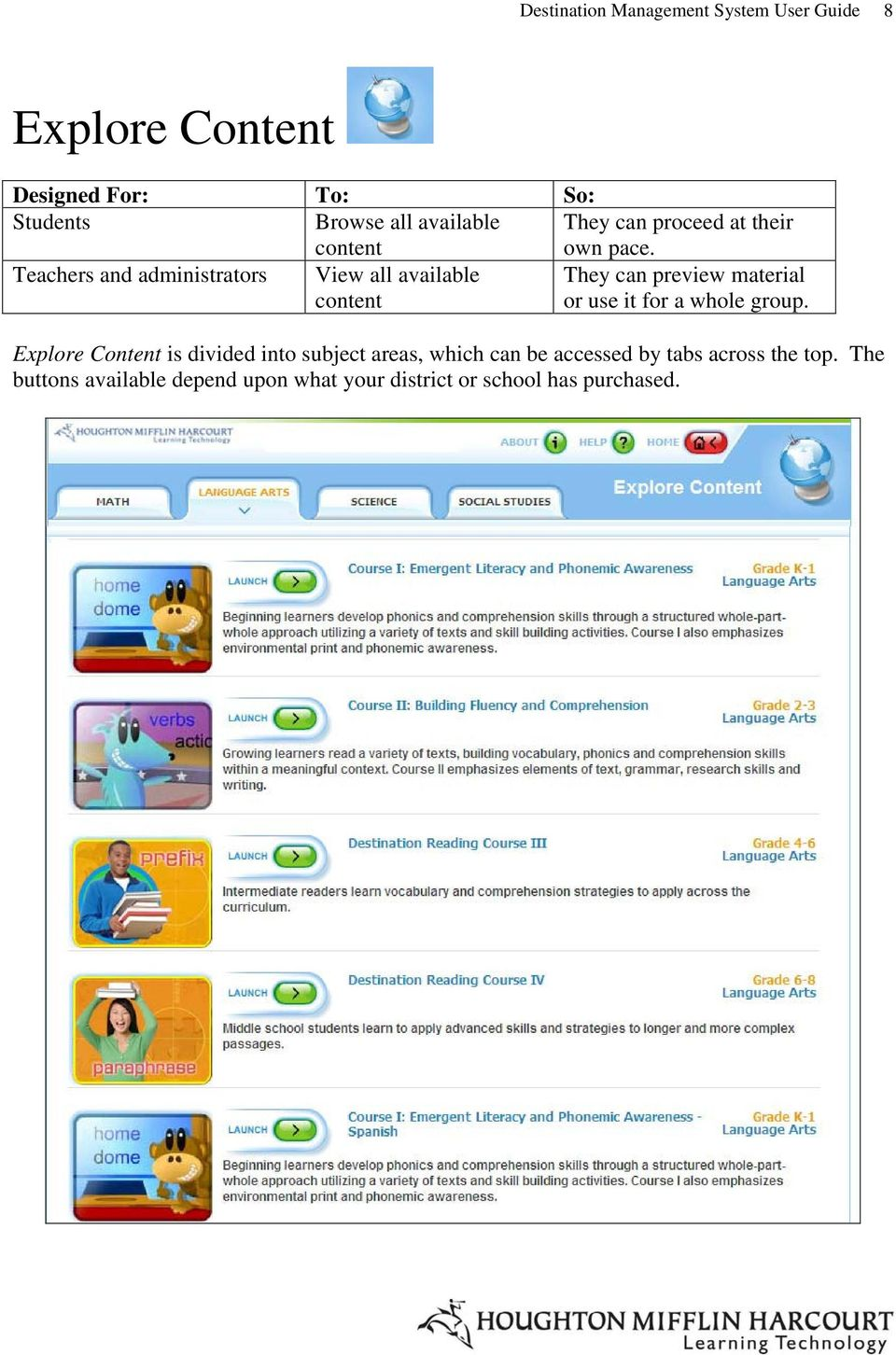 Teachers and administrators View all available content They can preview material or use it for a whole group.