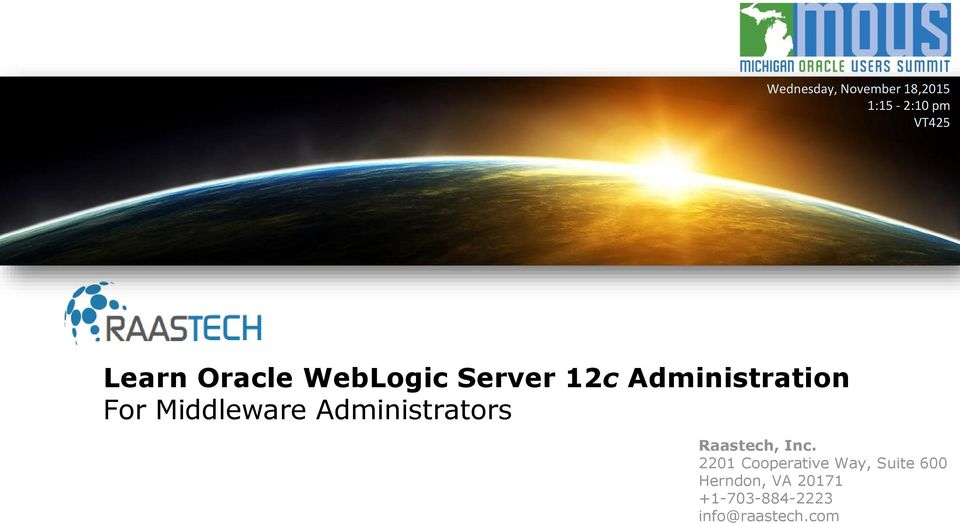 Middleware Administrators Raastech, Inc.