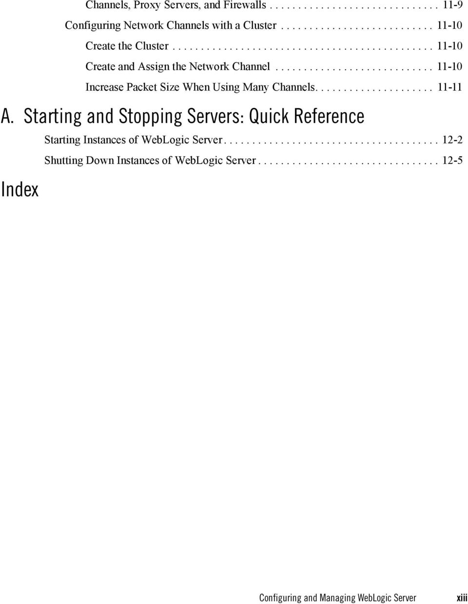 .................... 11-11 A. Starting and Stopping Servers: Quick Reference Index Starting Instances of WebLogic Server.