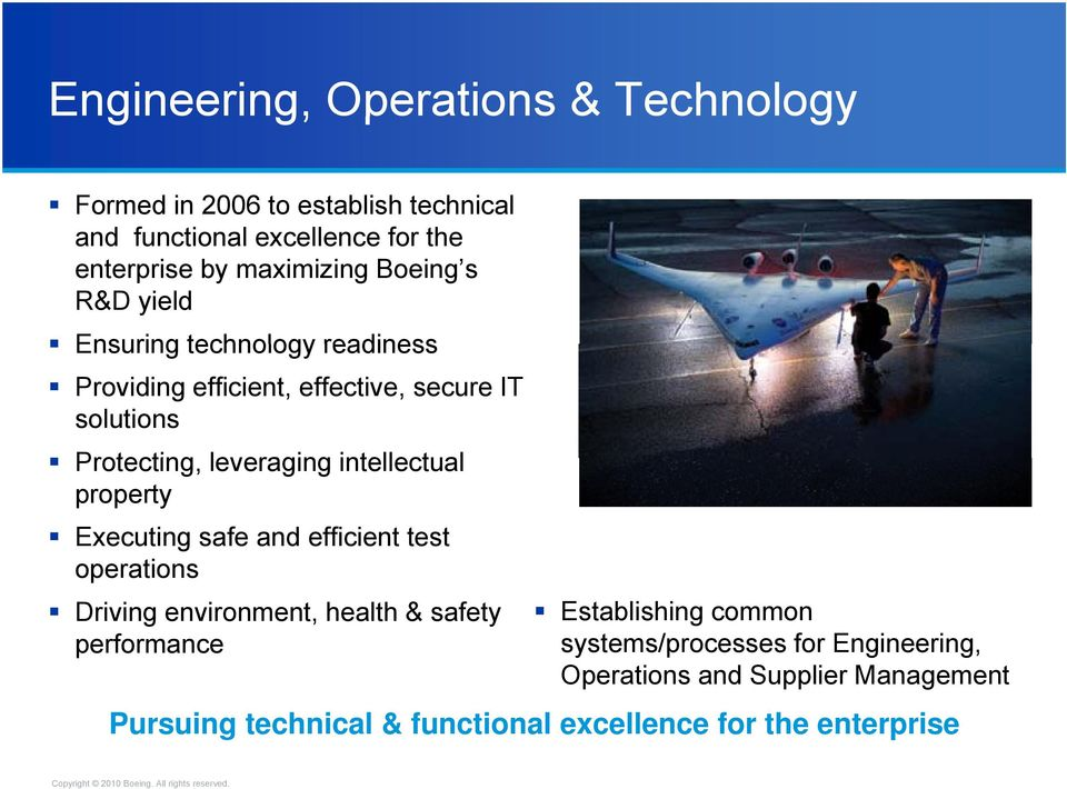 leveraging intellectual property Executing safe and efficient test operations Driving environment, health & safety performance