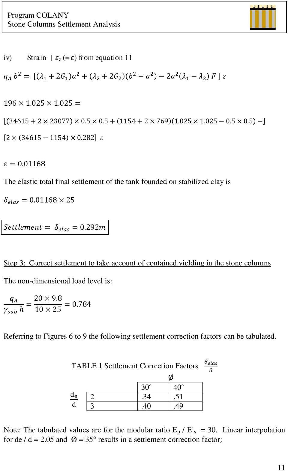 Figures 6 to 9 the following settlement correction factors can be tabulated. TABLE 1 Settlement Correction Factors Ø 30 40