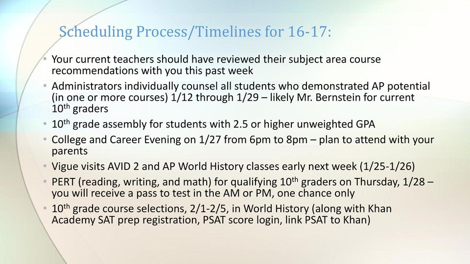 5 or higher unweighted GPA College and Career Evening on 1/27 from 6pm to 8pm plan to attend with your parents Vigue visits AVID 2 and AP World History classes early next week (1/25-1/26) PERT