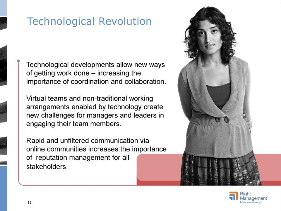 Virtual teams and non-traditional working arrangements enabled by technology create new challenges for