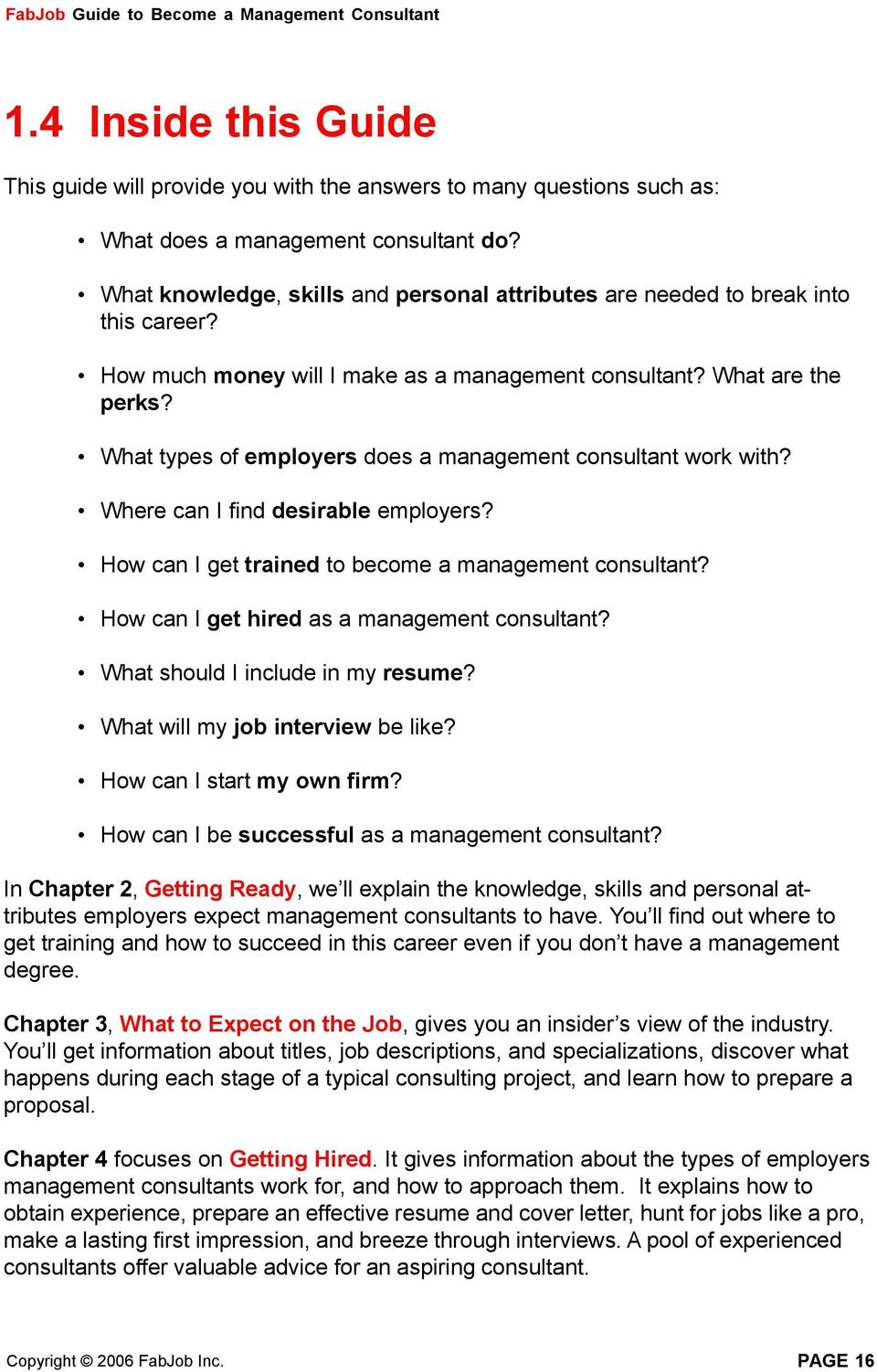 What types of employers does a management consultant work with? Where can I  find desirable