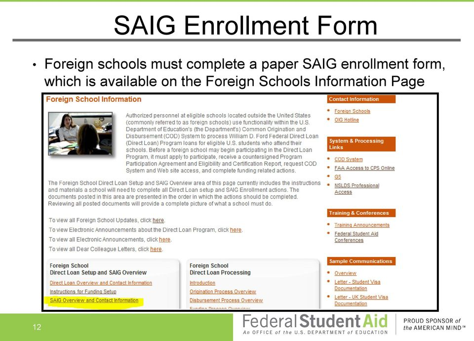 enrollment form, which is available