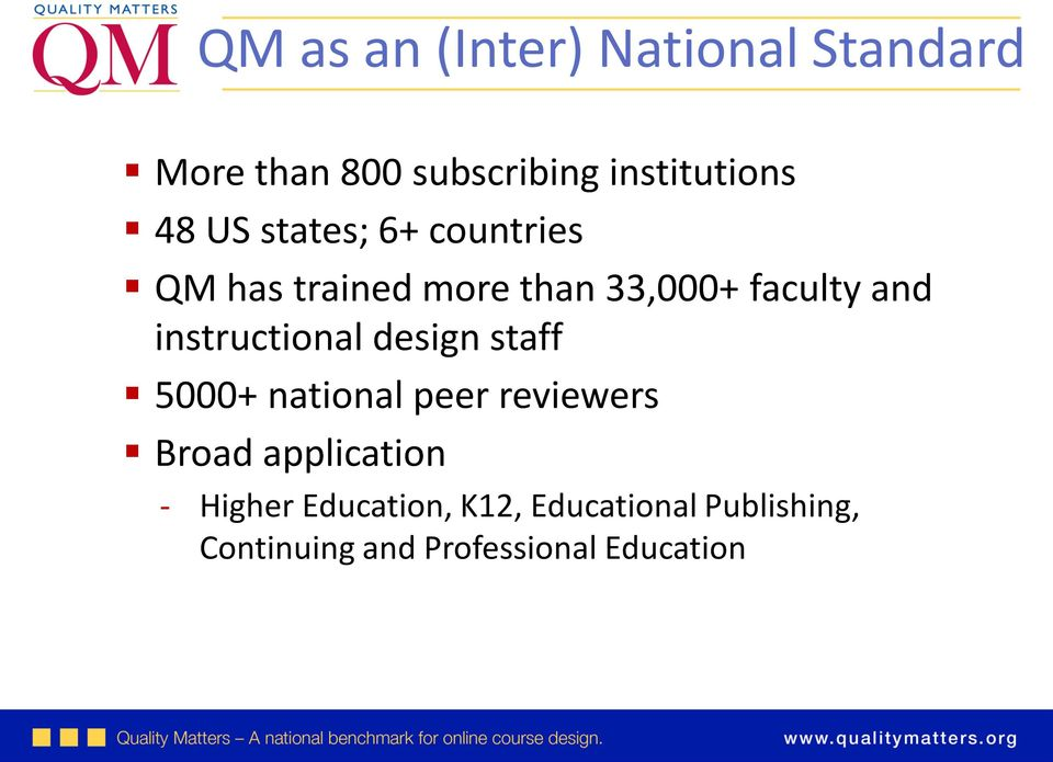 instructional design staff 5000+ national peer reviewers Broad application -