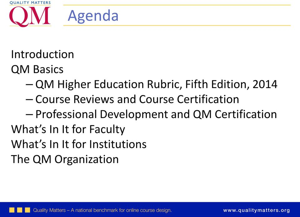 Professional Development and QM Certification What s In It