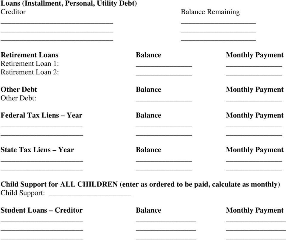 Liens Year Balance Monthly Payment State Tax Liens Year Balance Monthly Payment Child Support for ALL