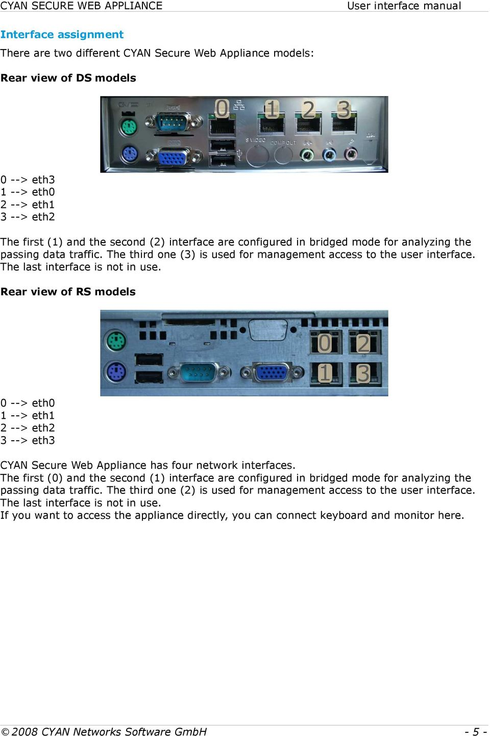 Rear view of RS models 0 --> eth0 1 --> eth1 2 --> eth2 3 --> eth3 CYAN Secure Web Appliance has four network interfaces.