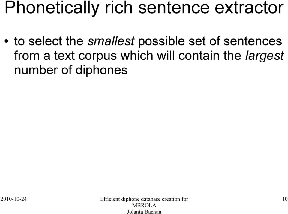 sentences from a text corpus which will
