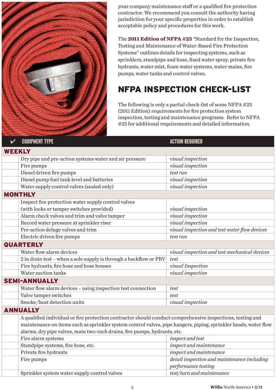 The 2011 Editio of NFPA #25 Stadard for the Ispectio, Testig ad Maiteace of Water-Based Fire Protectio Systems outlies details for ispectig systems, such as spriklers, stadpipe ad hose, fixed water