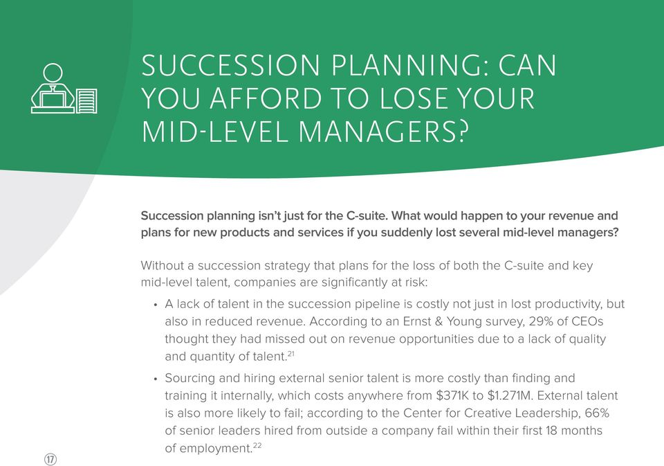 k Without a succession strategy that plans for the loss of both the C-suite and key mid-level talent, companies are significantly at risk: A lack of talent in the succession pipeline is costly not