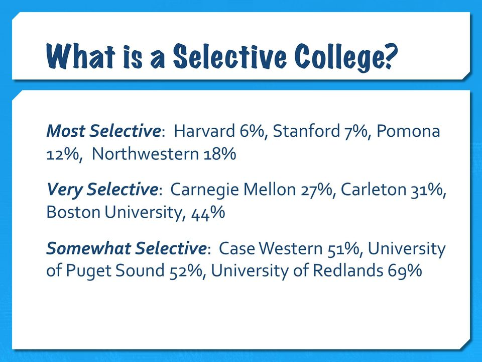 18% Very Selective: Carnegie Mellon 27%, Carleton 31%, Boston
