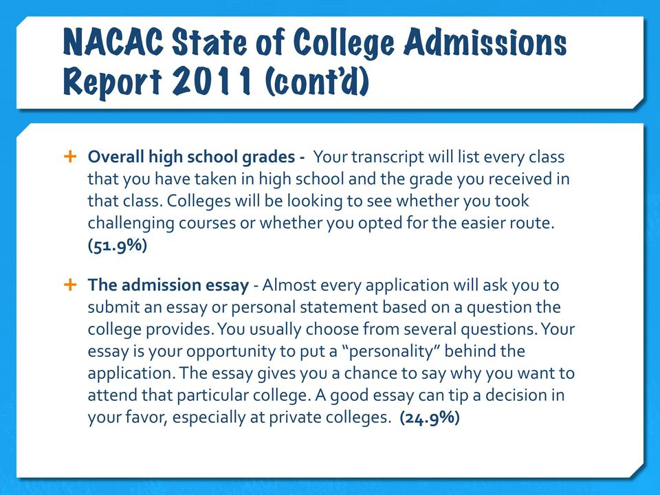 9%) Ê The admission essay - Almost every application will ask you to submit an essay or personal statement based on a question the college provides.