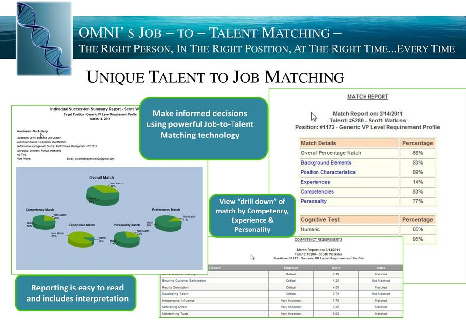 technology View drill down of match by Competency, Experience