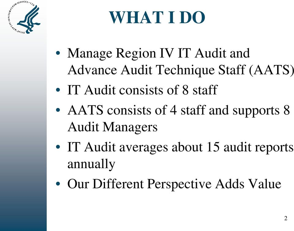 consists of 4 staff and supports 8 Audit Managers IT Audit