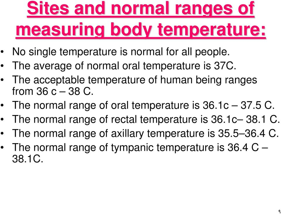 The normal range of oral temperature is 36.1c 37.5 C. The normal range of rectal temperature is 36.1c 38.1 C.