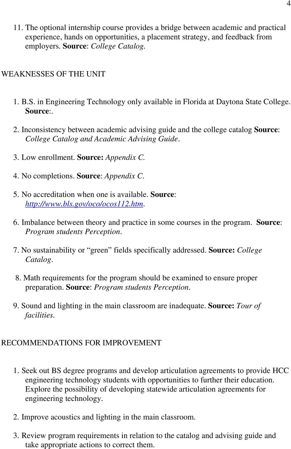 Inconsistency between academic advising guide and the college catalog Source: College Catalog and Academic Advising Guide. 3. Low enrollment. Source: Appendix C. 4. No completions. Source: Appendix C. 5.